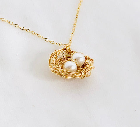 Bird's Nest Mother's Necklace-Gold Filled and Swarovski Pearls