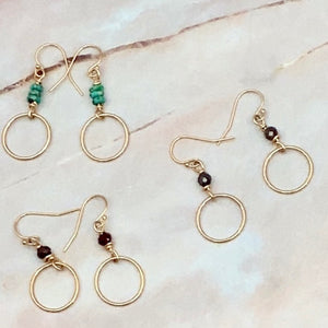 Gemstone Gold Filled Circle Earrings