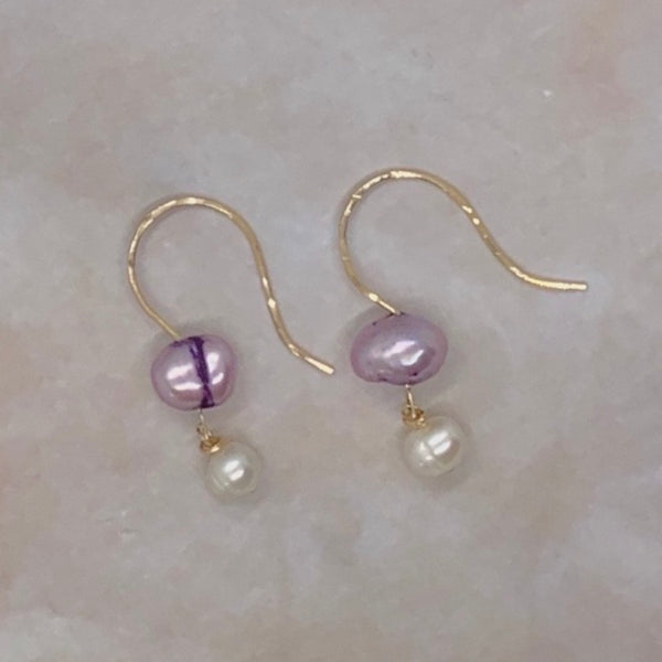 Pink Freshwater Pearl Double Dangle Earrings 14K Gold Filled