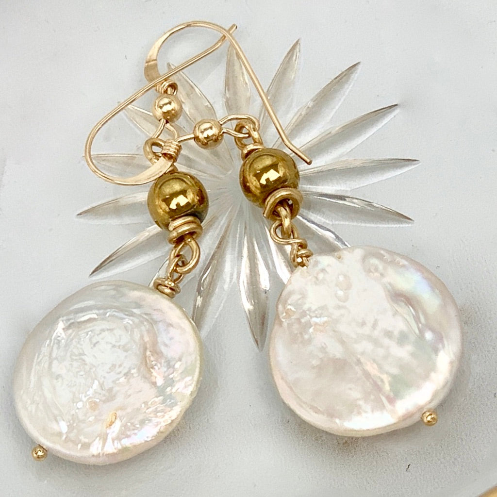 Keshi Coin Pearl Hematite 14K Gold Filled Earrings