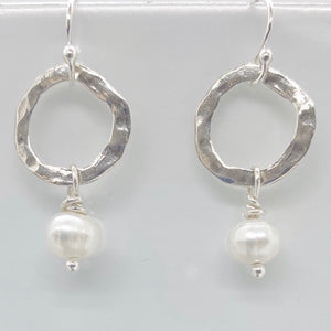 Hammered Circle Freshwater Pearl Earrings-Sterling Silver
