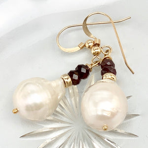 Baroque Pearl Garnet Earrings Sterling Silver or 14K Gold Filled