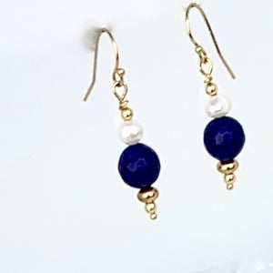Lapis Lazuli and Freshwater Pearl 14K Gold Filled Earrings
