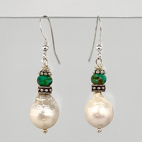 Baroque Pearl Turquoise Sterling Silver Earrings