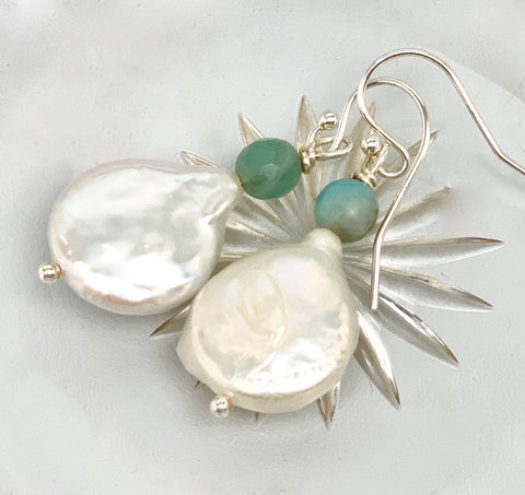 Keshi Coin Pearl Aquamarine Earring- Sterling Silver or 14K Gold