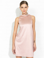 Arlene Mock Turtleneck Suede Dress in Dusty Pink by Amanda Uprichard at Peccadilly