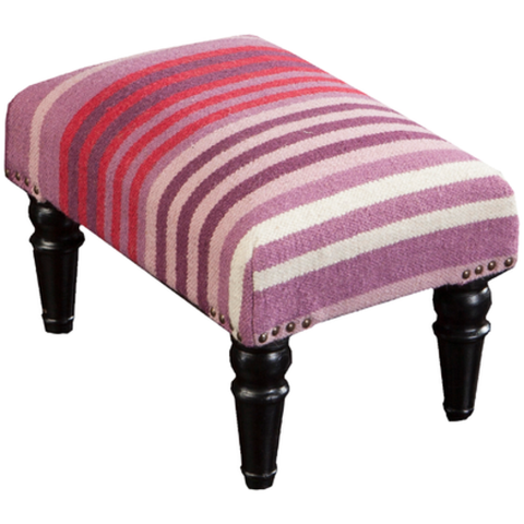 Happy Cottage Hand Woven Striped Foot Stool