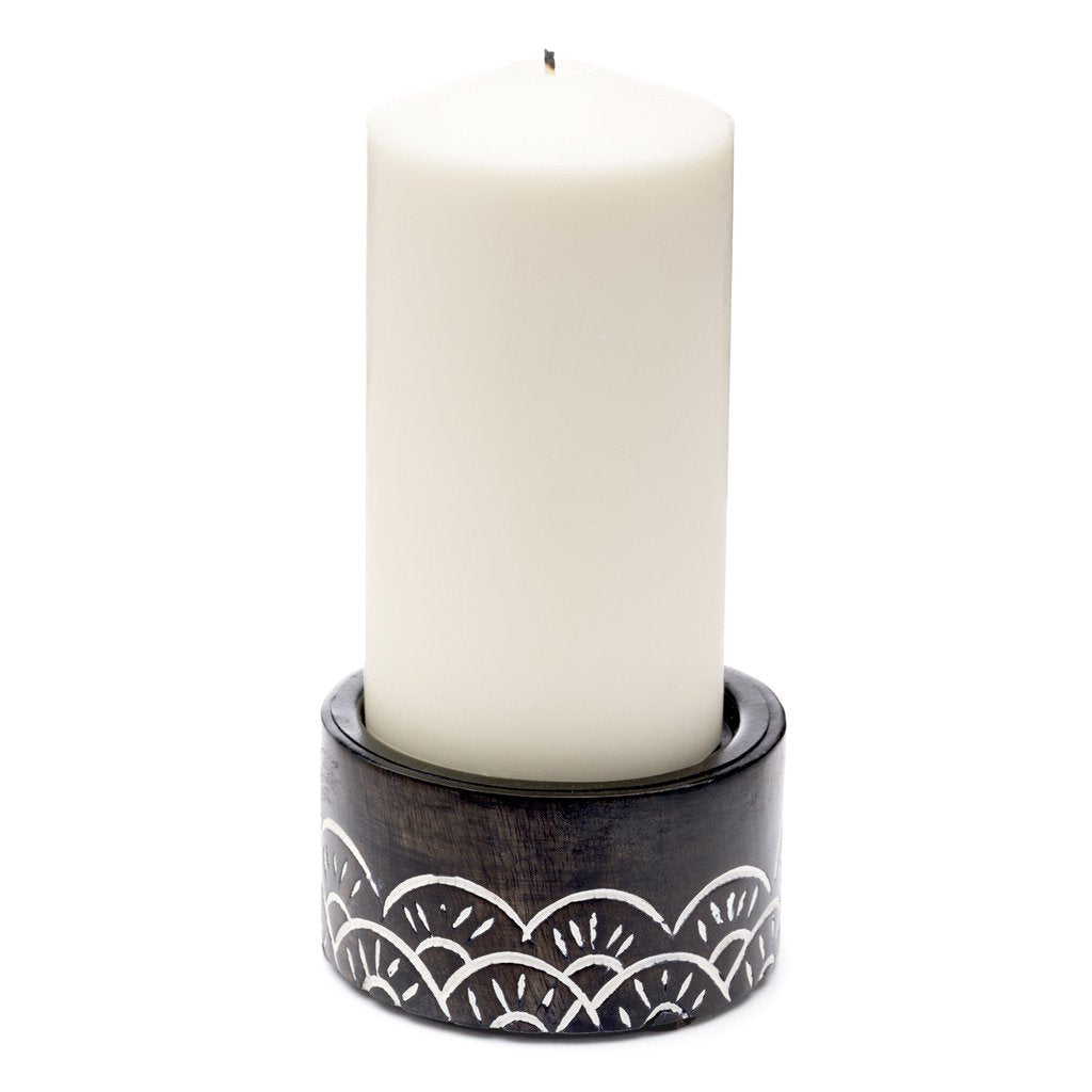 Vasant Pillar Short Fair Trade Candle Holder-Home - Dcor - Candleholders-MATR BOOMIE FAIR TRADE-Peccadilly