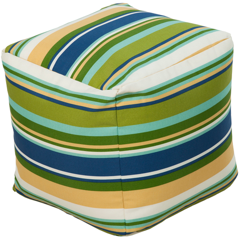 18 x 18 x 18 Pouf in Blue and Grass Green Stripe