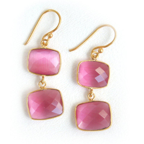 24kt Gold Whitten Earwire Gemstone Earrings