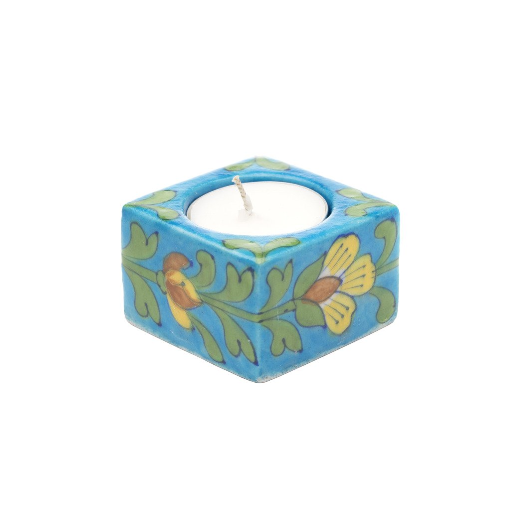 Blue Pottery Tea Light Holder Turquoise Fair Trade-Home - Dcor - Candleholders-MATR BOOMIE FAIR TRADE-Peccadilly
