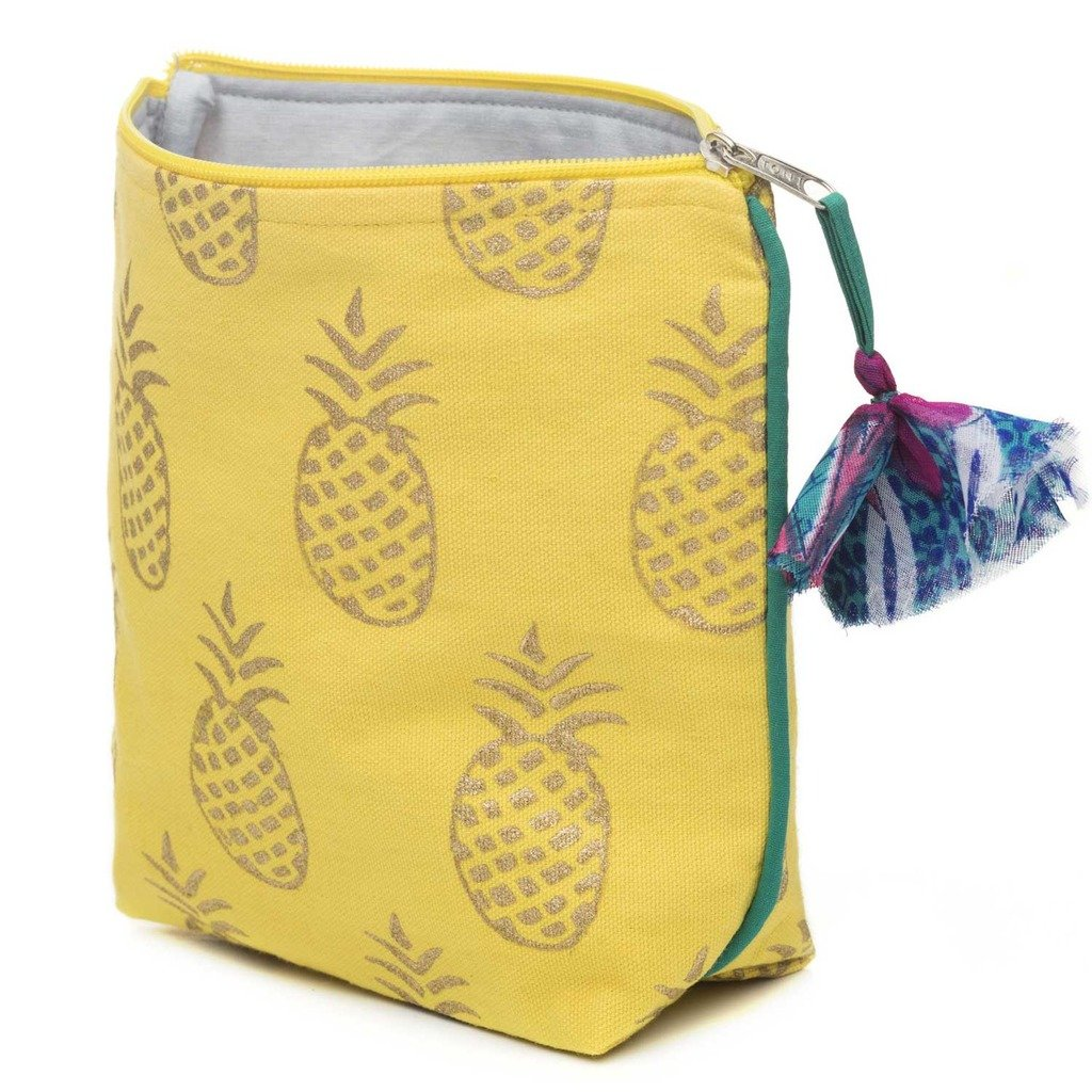 Metallic Print Pineapple Cosmetic Bag Fair Trade-Women - Accessories - Cosmetic Bags-MATR BOOMIE FAIR TRADE-Peccadilly