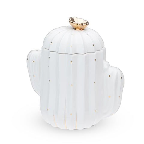 Cactus Cookie Jar White and Gold