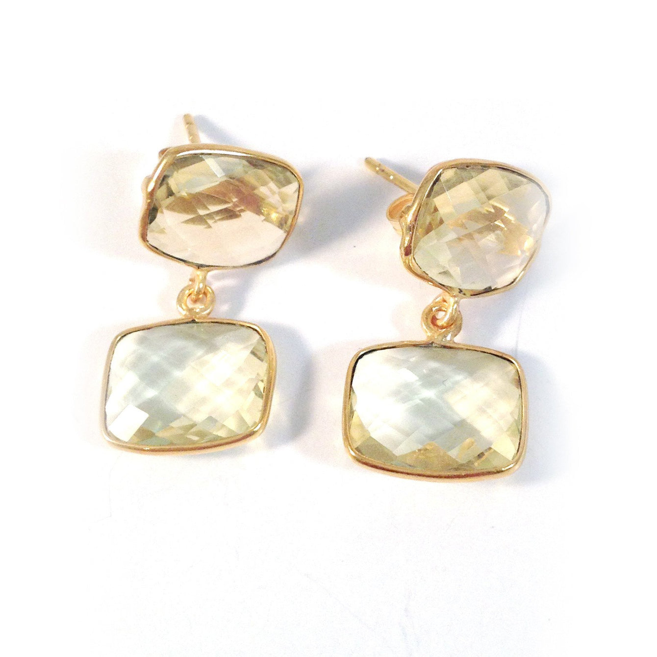 24k Gold Whitten Genuine Gemstone Post Earrings-Women - Jewelry - Earrings-ADDISON WEEKS-Lemon Topaz-Peccadilly