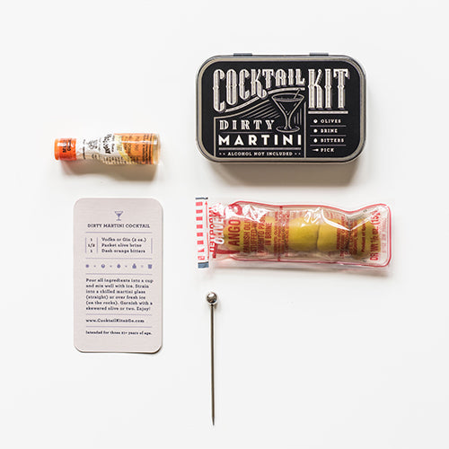 Premium Travel Cocktail Kits Dirty Martini or Old Fashioned-home - entertaining - cocktail edibles-Peccadilly-Dirty Martini-Peccadilly