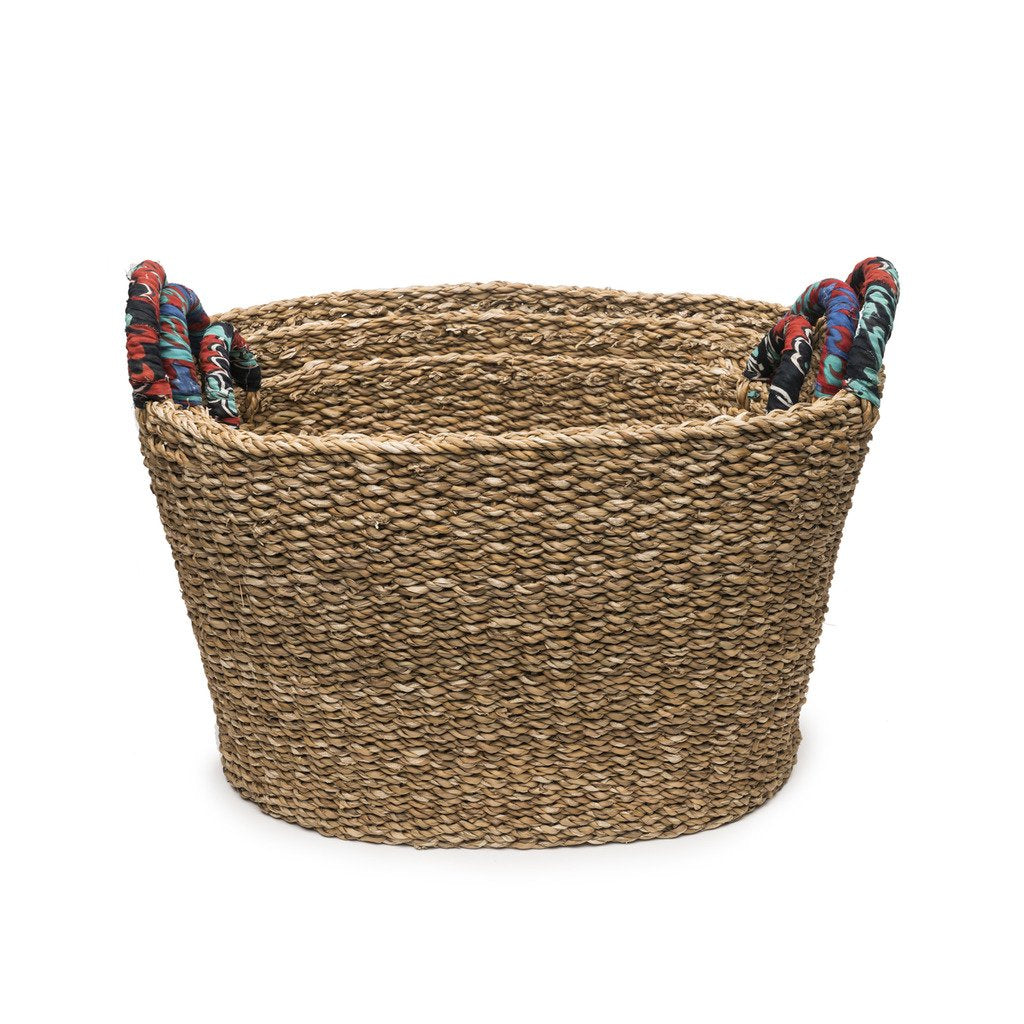 Set of 3 Graduated Tall Chindi Colorful Handle Fair Trade Baskets-Home - Dcor - Baskets-MATR BOOMIE FAIR TRADE-Peccadilly