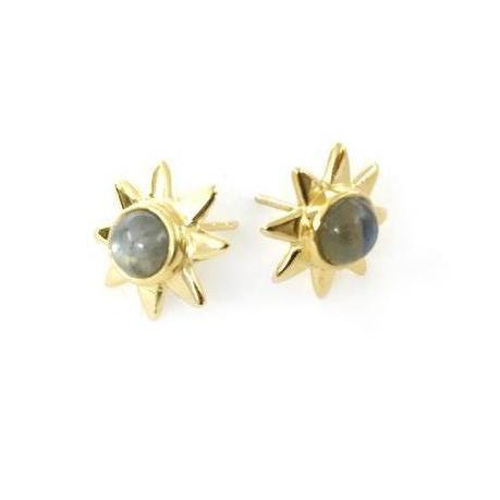 Starr 24k Gold Studs Genuine Gemstone Earrings-Women - Jewelry - Earrings-ADDISON WEEKS-Labradorite-Peccadilly