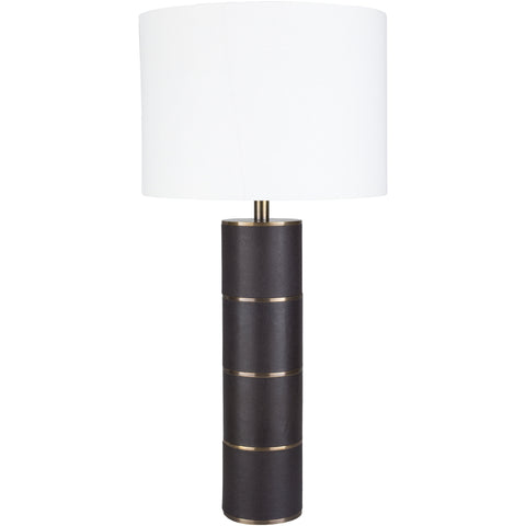 Andrews Antique Leather Column Table Lamp