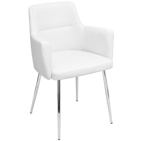 Andrew Contemporary Dining/Accent Chair in Chrome and White Faux Leather - Set of 2