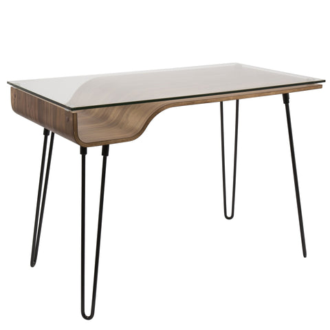 Avery Mid-Century Modern Desk in Walnut Wood, Clear Glass, and Black Metal