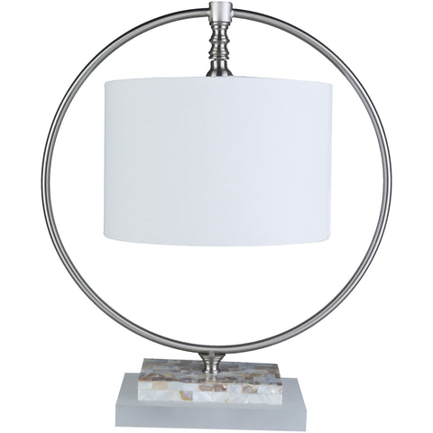Britton Brushed Nickel Mother of Pearl Inverted Shade Table Lamp