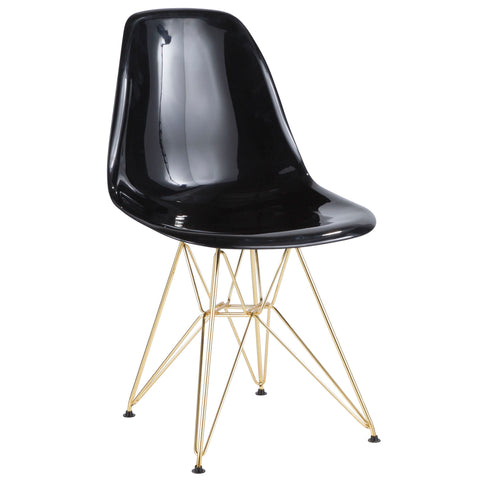Brady Mid-Century Modern Dining or Accent Chair in Gold and Black Set of 2