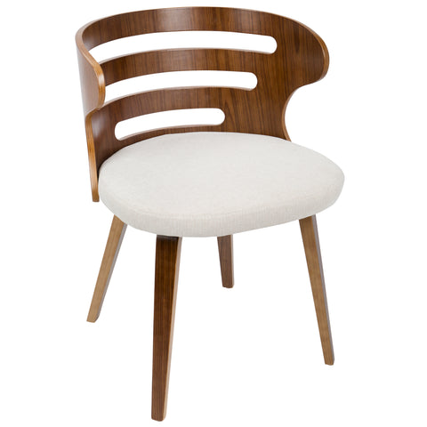 Cosi Mid-Century Modern Dining or Accent Chair in Walnut and Cream Fabric
