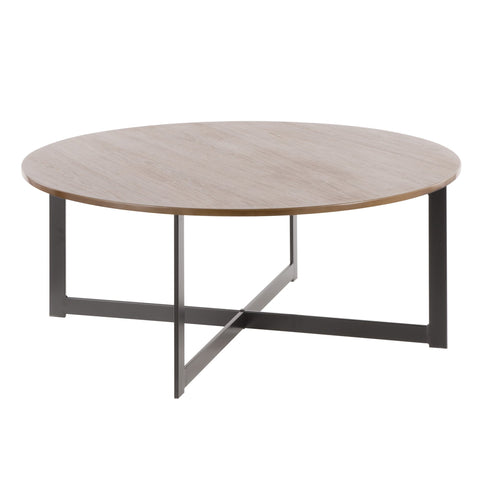 Cosmopolitan Industrial Coffee Table in Black Metal and Walnut Wood