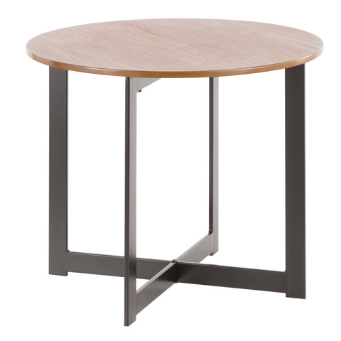Cosmopolitan Industrial End Table in Black Metal and Walnut Wood