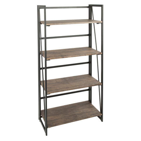 Dakota Industrial Bookcase in Black Metal and Wood