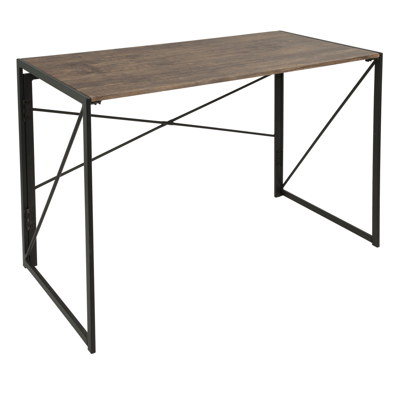 Dakota Industrial Office Desk in Black with Wood Top-LUMISOURCE-Peccadilly