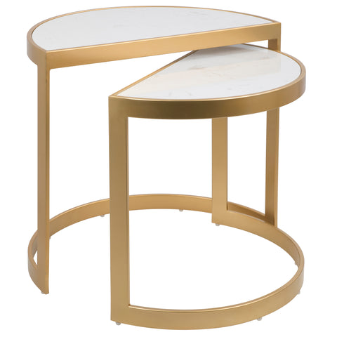 Demi Contemporary Nesting Tables in Gold with White Marble Top Set of 2