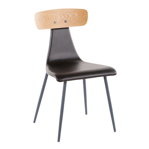 Elio Contemporary Chair in Grey Metal, Black Faux Leather and Natural Wood Set of 2