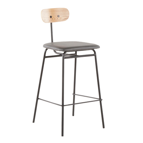 Elio Contemporary Counter Stool in Black Metal, Grey Faux Leather and Natural Wood Set of 2