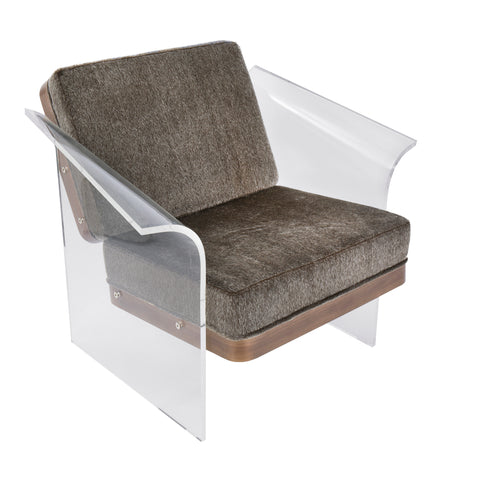 Float Contemporary Chair in Walnut, Clear Acrylic, and Brown Mohair Fabric
