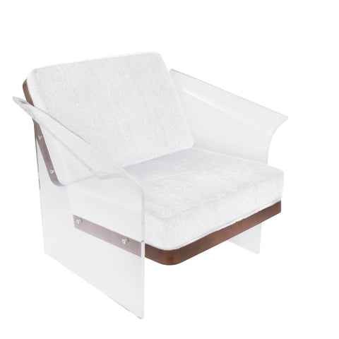 Float Contemporary Chair in Walnut, Clear Acrylic, and White Mohair Fabric