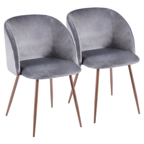 Fran Contemporary Dining or Accent Chair in Walnut with Grey Velvet Set of 2