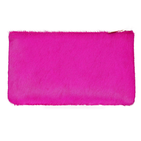 Genuine Calf Hair Zip Pouch Clutch in Fuchsia