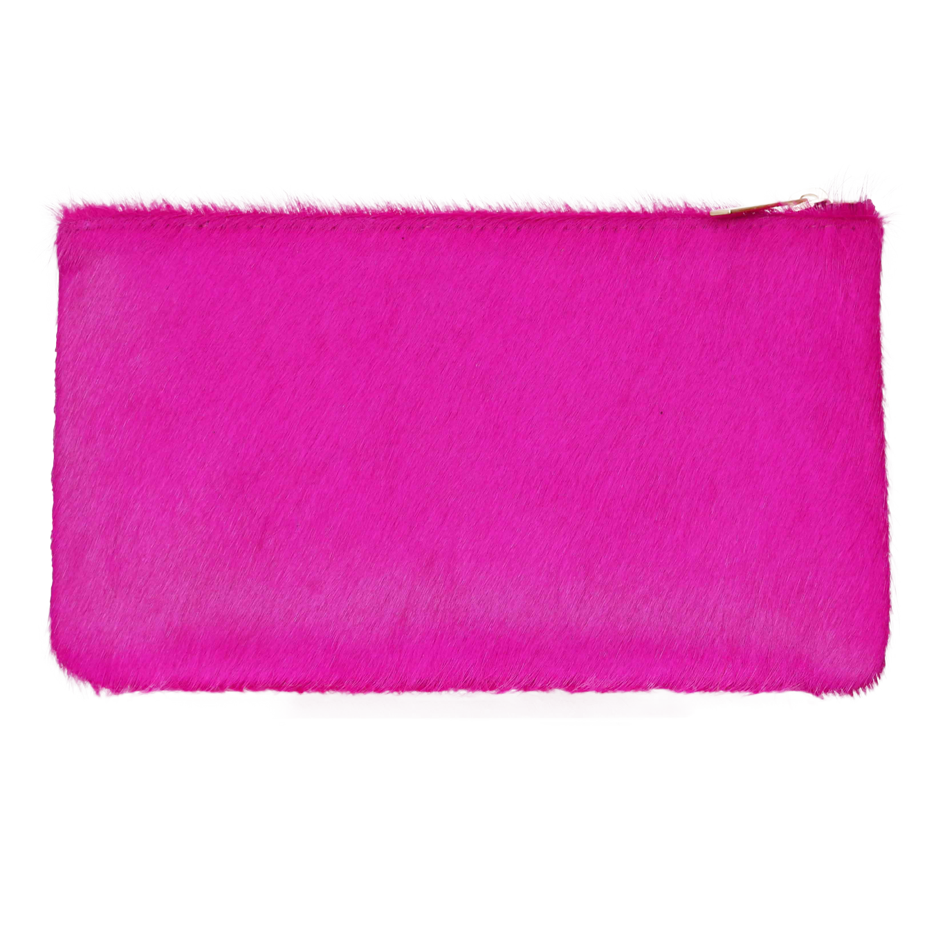 Genuine Calf Hair Zip Pouch Clutch in Fuchsia-Women - Accessories - Clutches-ALLISON MITCHELL-Large-Peccadilly