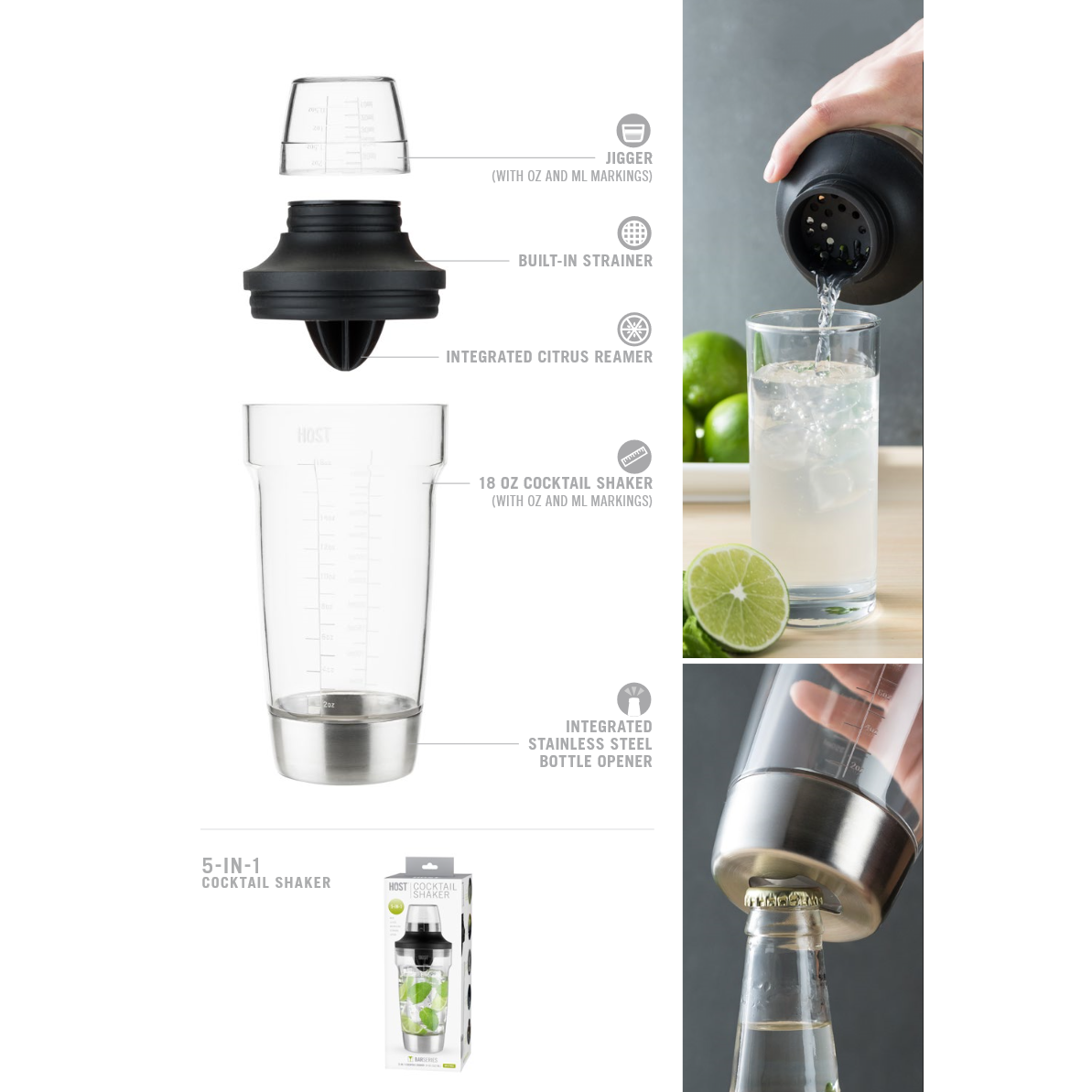 5-in-1 Cocktail Maker-Home - Entertaining - Cocktail Shakers-HOST-Peccadilly