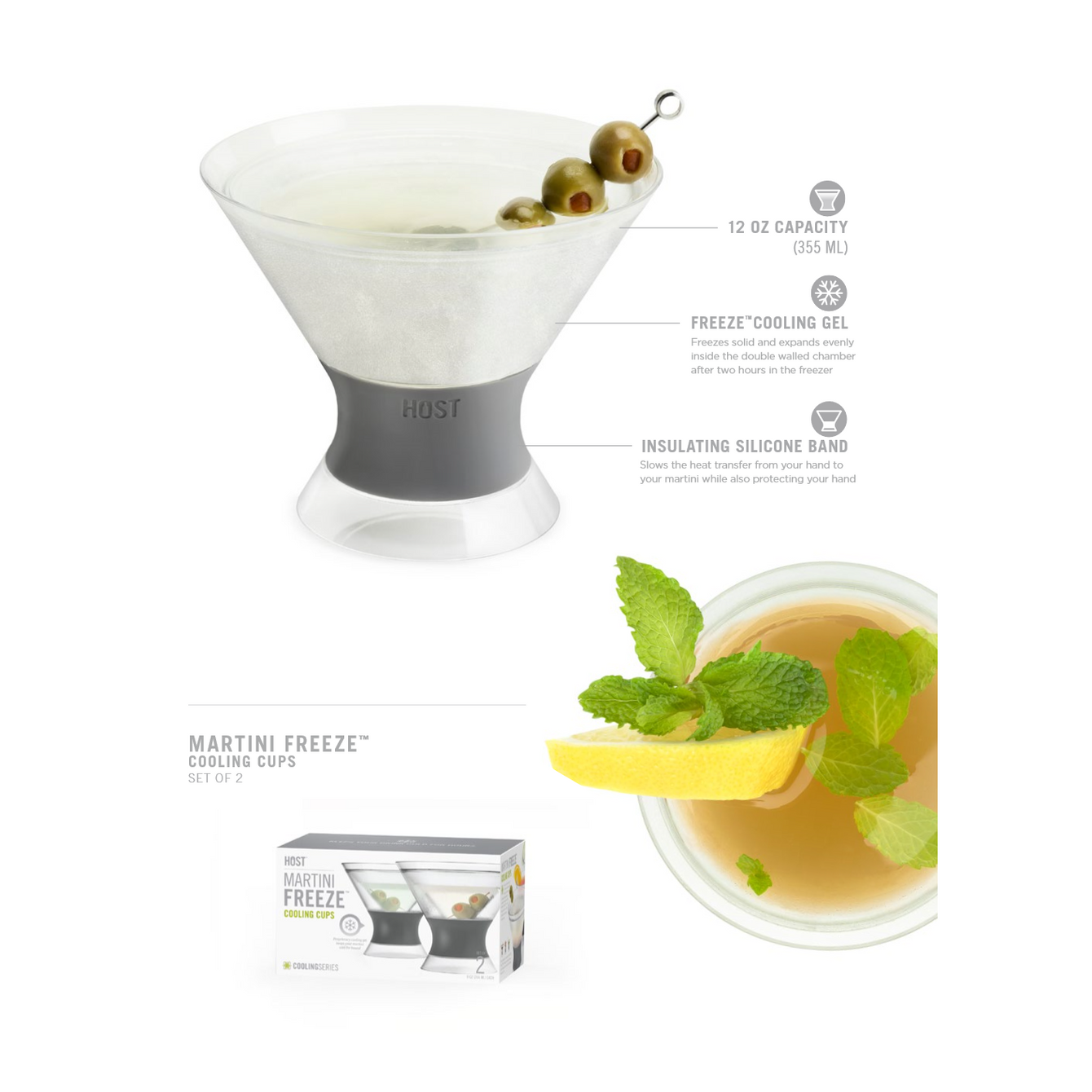 FREEZE Martini Cooling Cups Set of 2-Home - Entertaining - Cocktail Glasses Sets-HOST-Peccadilly