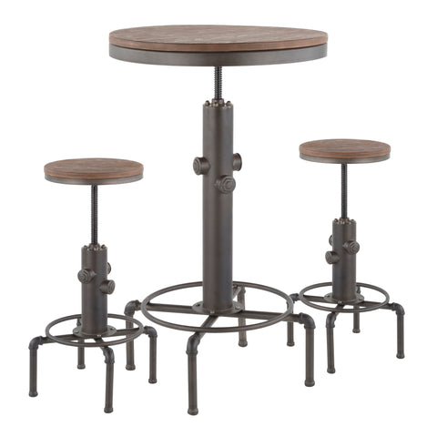 Hydra Industrial Bar Set in Antique Metal and Brown Wood-Pressed Grain Bamboo