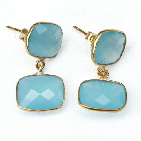 24k Gold Whitten Genuine Gemstone Post Earrings