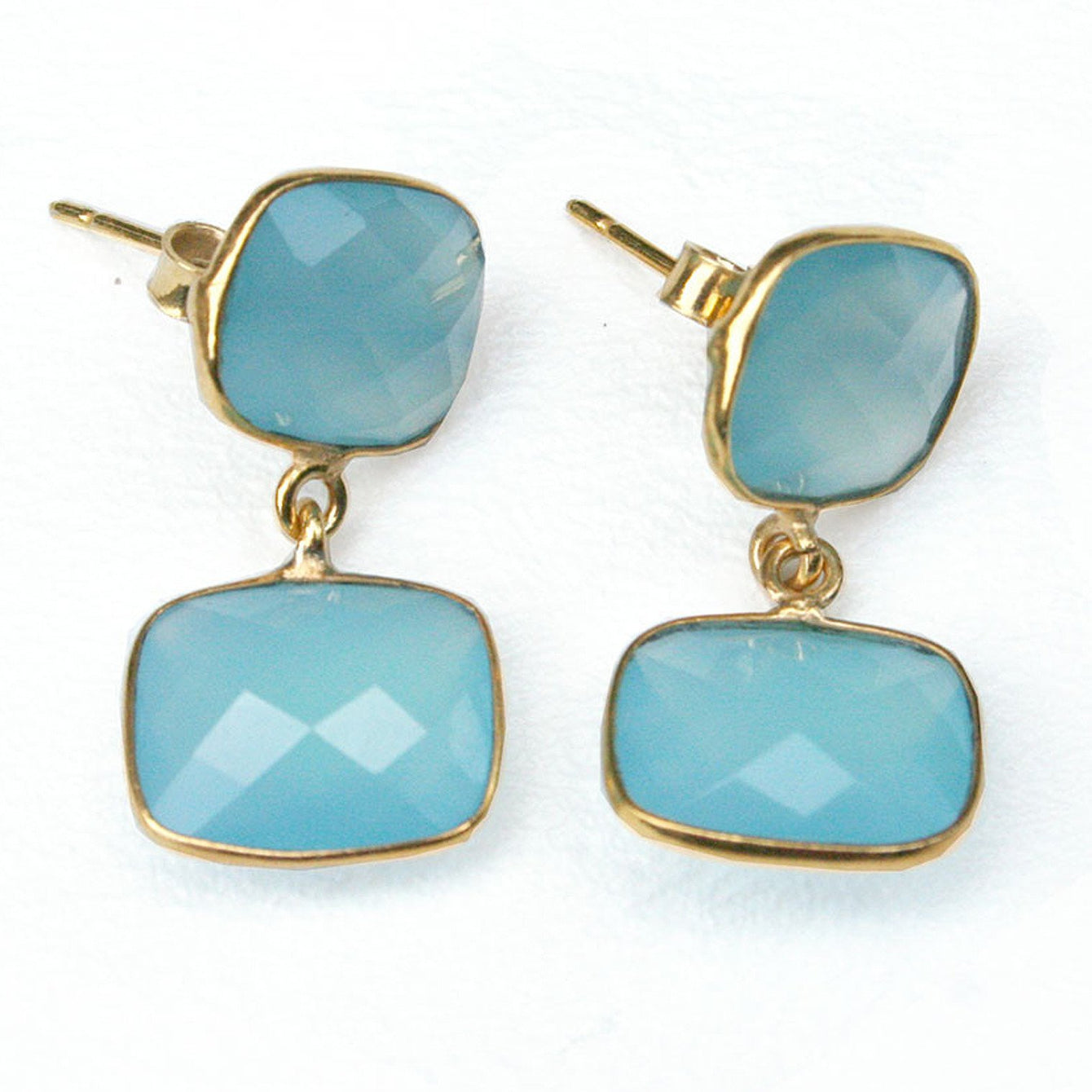 24k Gold Whitten Genuine Gemstone Post Earrings-Women - Jewelry - Earrings-ADDISON WEEKS-Aquamarine-Peccadilly