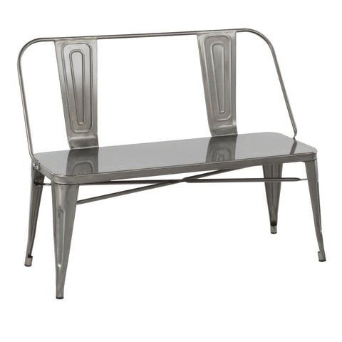 Oregon Industrial Metal Dining or Entryway Bench in Clear Brushed Silver