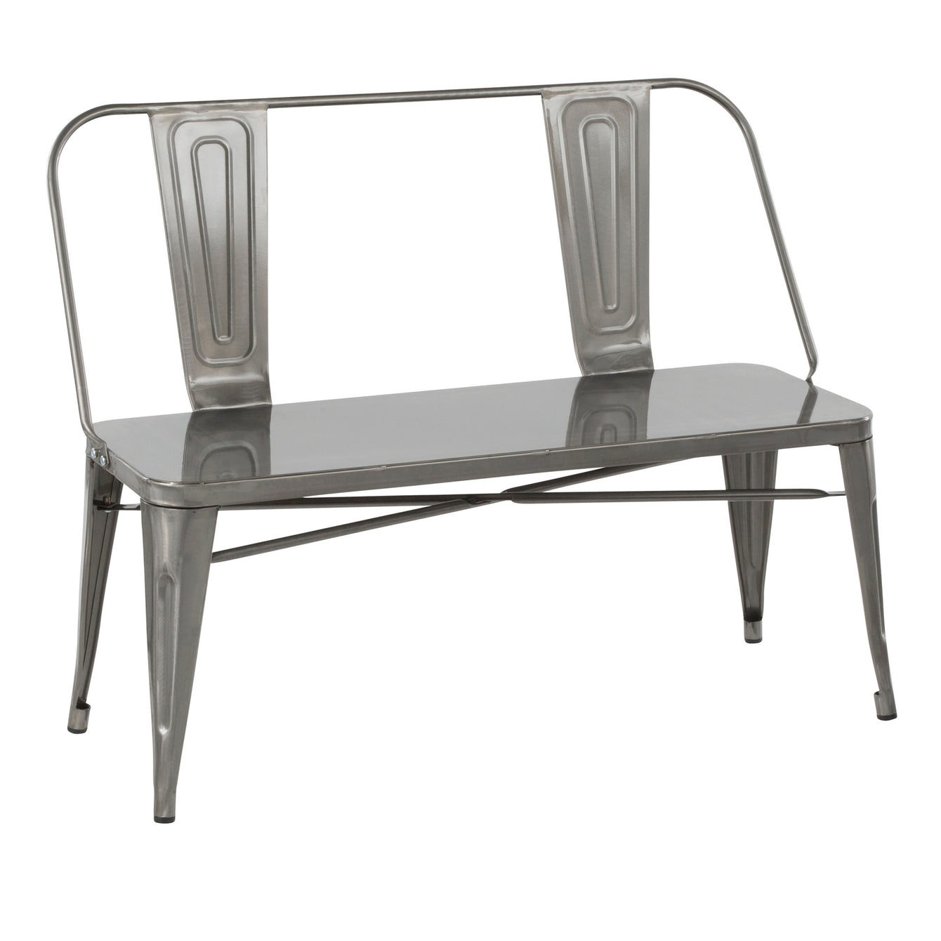 Oregon Industrial Metal Dining or Entryway Bench in Clear Brushed Silver-LUMISOURCE-Peccadilly