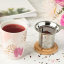 Bailey Ceramic Tea Mug & Infuser Sets-Home - Coffee + Tea - Mugs + Infuser-PINKY UP-Grey and Gold Brushed-Peccadilly