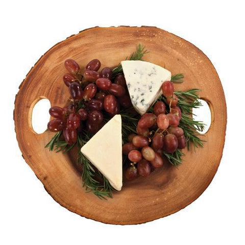 Acacia Wood Raw Edge Round Cheese Board