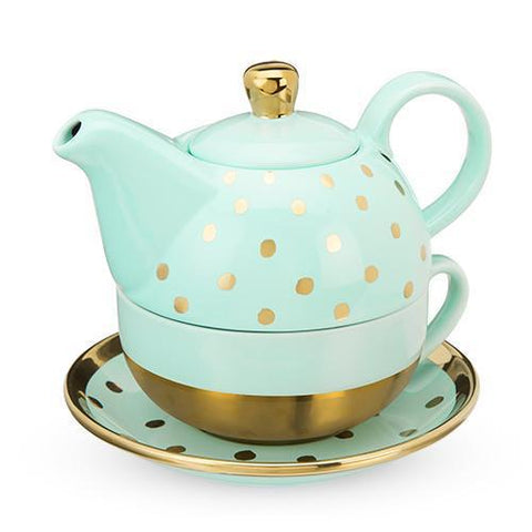 Addison Aqua Gold Dot Tea for One Set