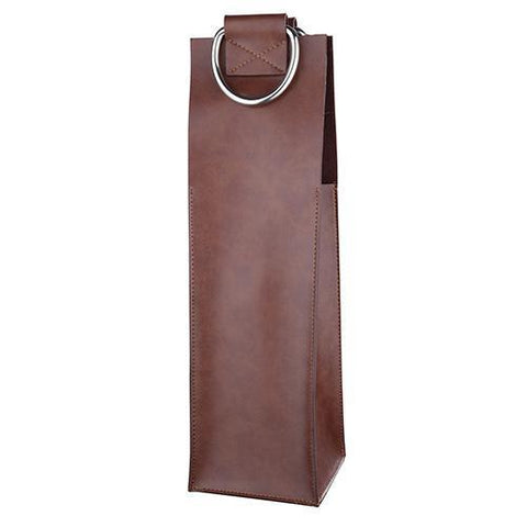 Admiral Faux Leather Brown Wine Tote